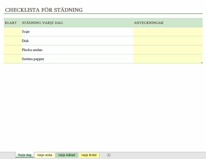 Checklista för städning