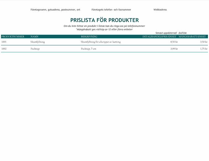 Prislista för produkter