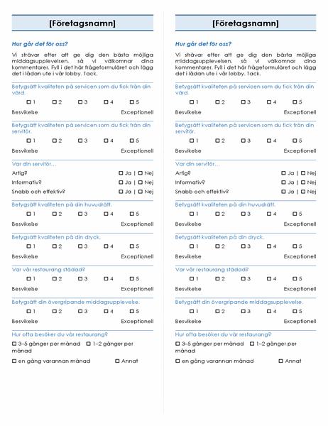 Restaurangundersökning (2 per sida)