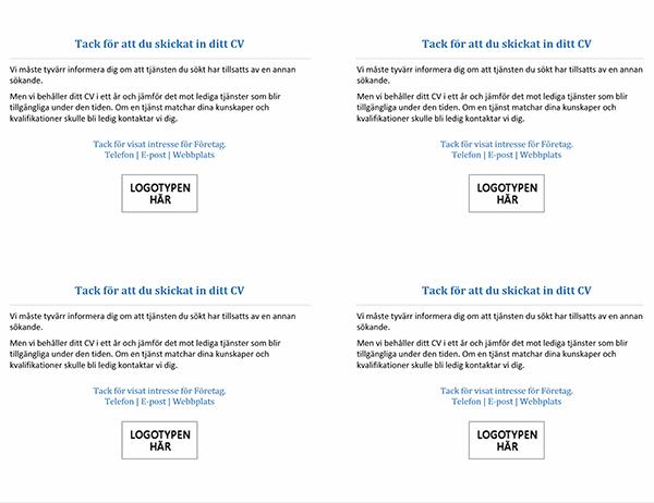 Vykort till kandidater när tjänsten är tillsatt (4 per sida)