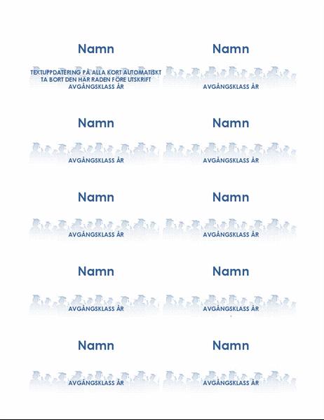 Namnbrickor för studenter (10 per sida)