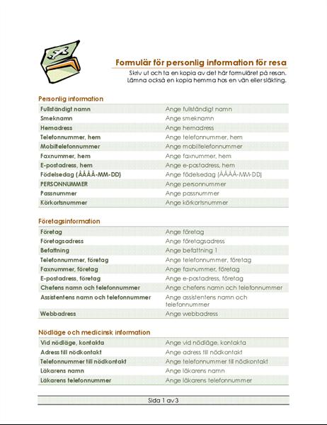 Formulär för resplan och personlig information