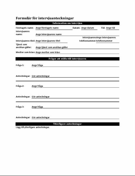 Formulär för intervjuanteckningar
