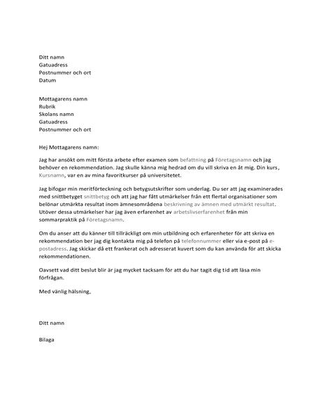 Brev till lärare med förfrågan om rekommendation för ett arbete