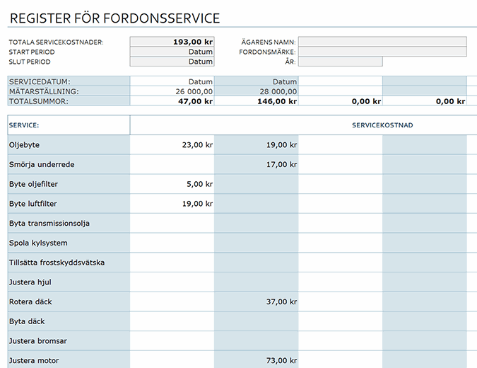 Register för fordonsservice