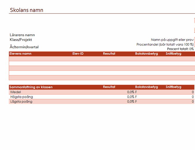 Lärarens betygsbok (baseras på procentandelar)
