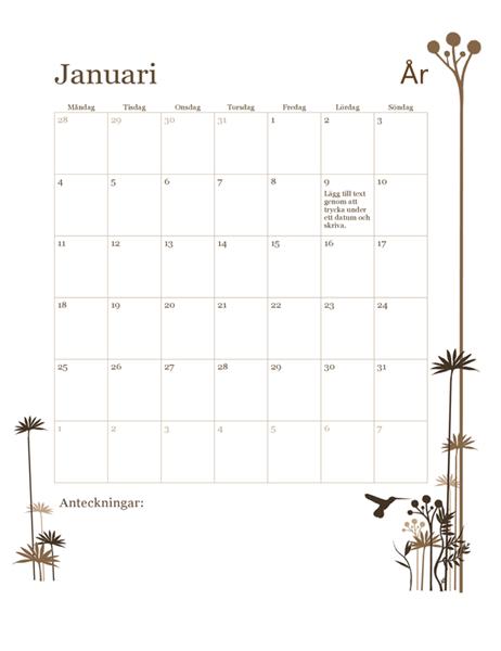 12-månaderskalender med kolibri (mån-sön)