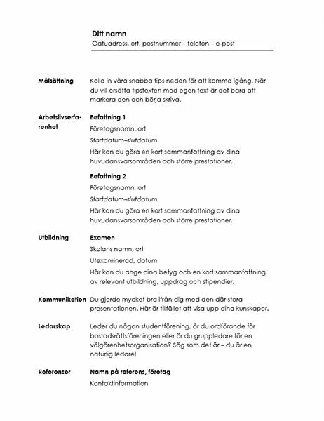 Kronologisk meritförteckning (designen Minimalistiskt)