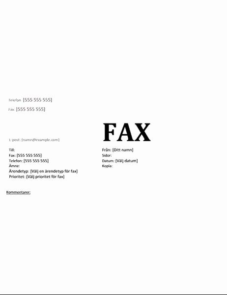 Försättsblad för fax (akademiskt)