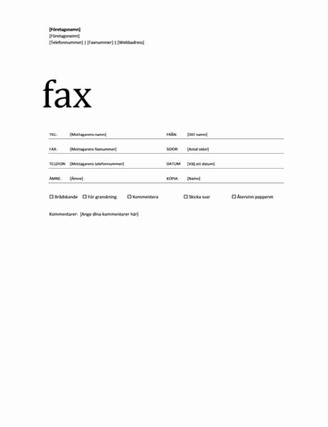 Försättsblad för fax (professionellt tema)