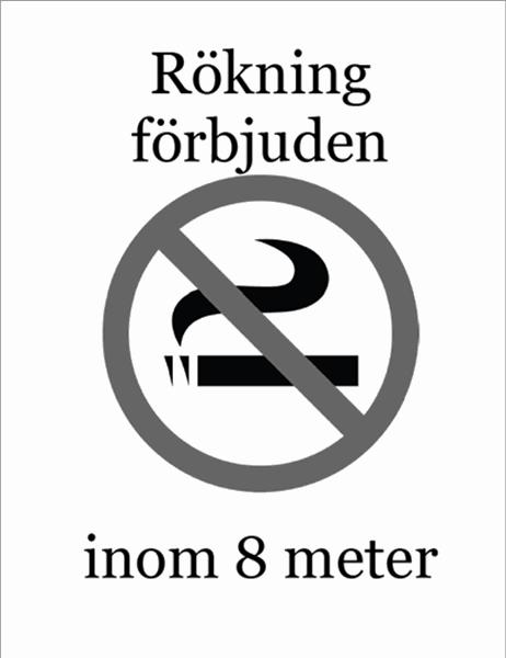 Rökning förbjuden-skylt (svartvit)