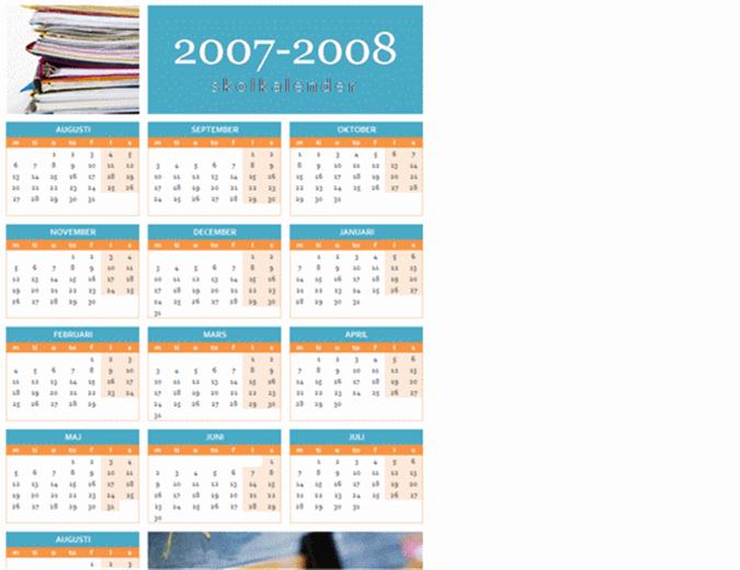 Utbildningskalender för 2007-2008 (1 sida, mån–sön)