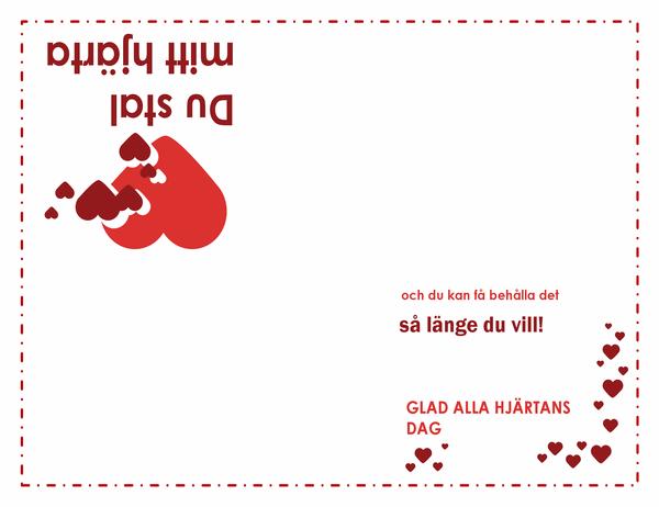 Alla hjärtans dag-kort (design med hjärta, fyrdubbel vikning)