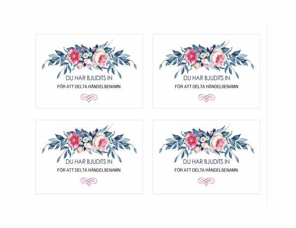 Festinbjudan (blommig design)
