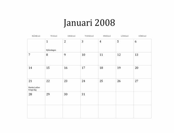 Kalender för 2008 (standardtema, måndag till söndag)