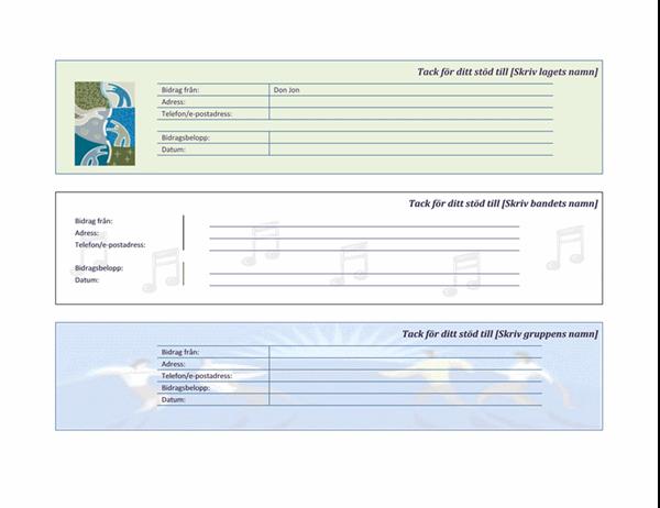 Kvitto för bidrag till laginsamling