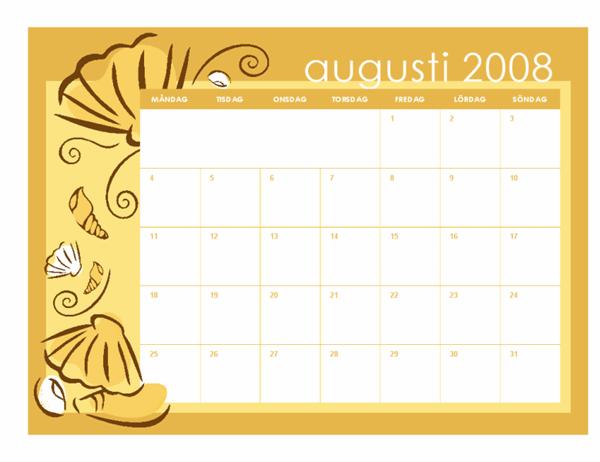 Skolkalender för 2008-2009 (månadsteman, 13 sidor, må-sö, aug-aug)