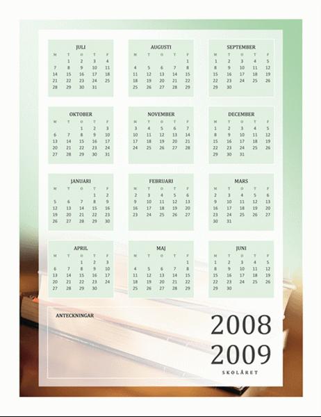 Skolkalender för 2008-2009 (1 sida, må-fr)