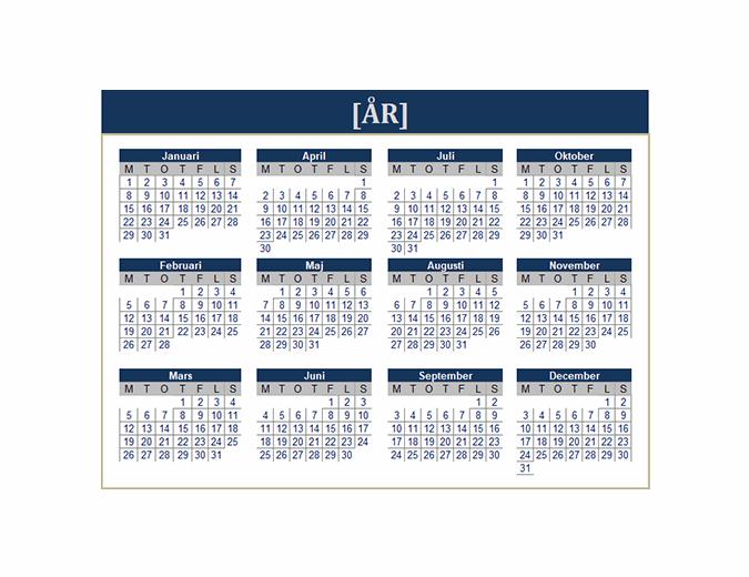 Kalender (valfritt år)