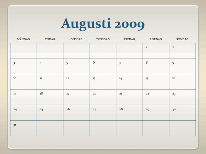 Skolårskalender för 2009-2010 (13 sidor, må-sö)
