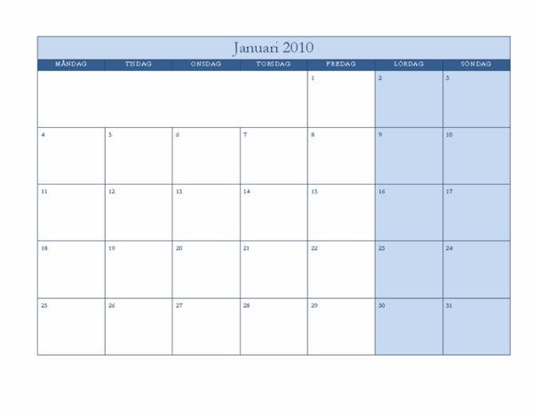 Kalender för 2010 (klassiskt blå, må-sö)