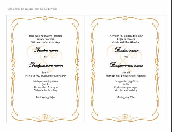 Bröllopsinbjudan (hjärtdesign, A7-format, 2 per sida)