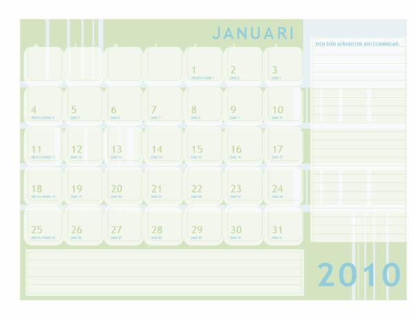 Juliansk kalender för 2010 (må-sö)
