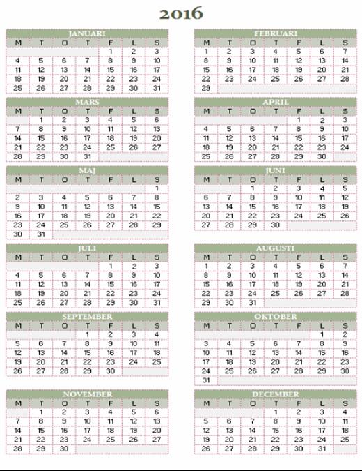Årskalender 2016–2025 (mån–sön)