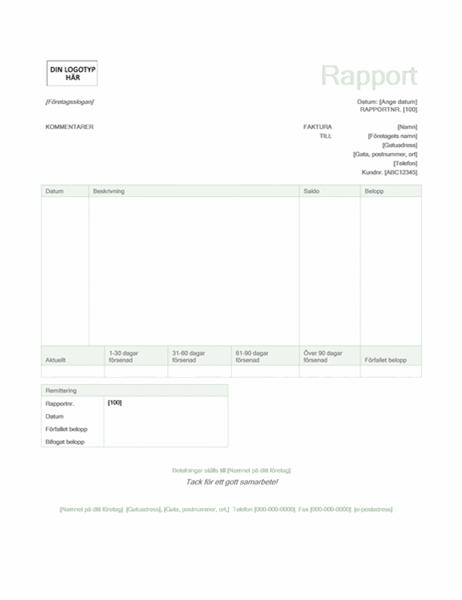 Fakturarapport (designuppsättningen Grön)