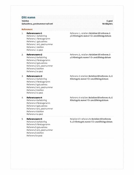 Funktionell meritförteckning, referensblad