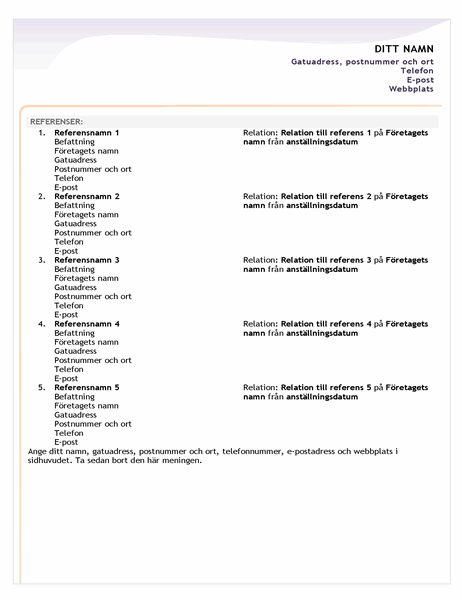 Meritförteckning på ingångsnivå, referensblad