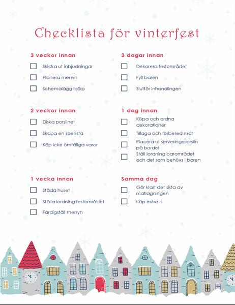 Checklista för vinterfest