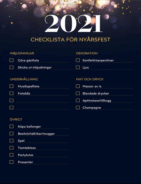 Checklista för nyårsfesten