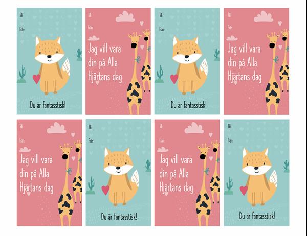 Alla hjärtans dag-kort för barn