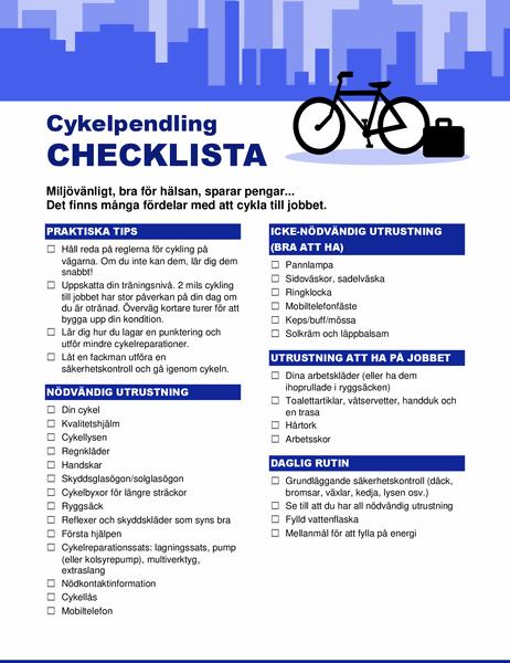 Checklista för cykelpendling