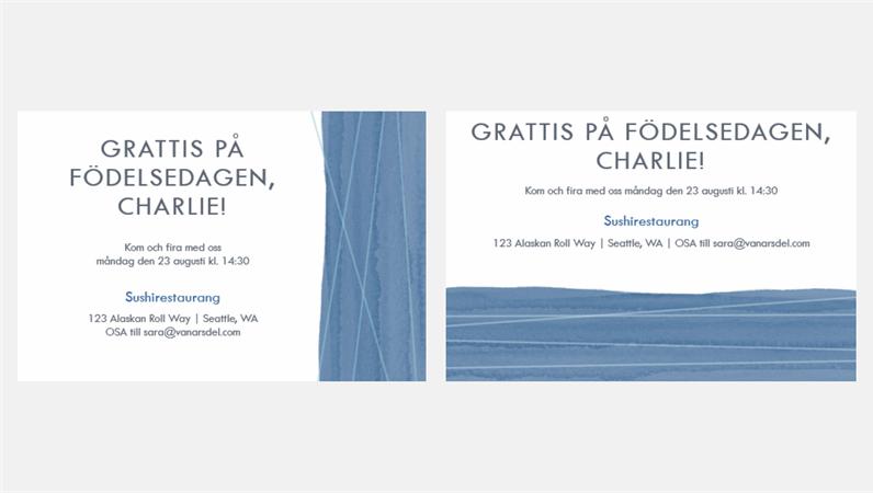 Festinbjudningar med blå band (två per sida)