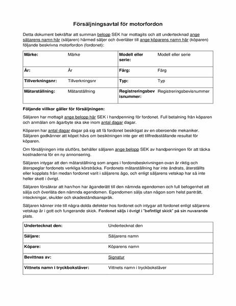 Försäljningsavtal för motorfordon