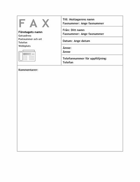Försättsblad för företagsfax