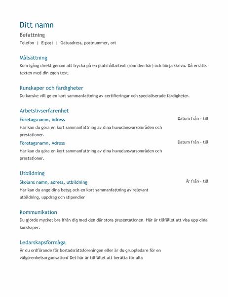 Meritförteckning (kronologisk ordning)