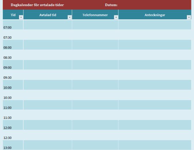 Kalender för dagliga avtalade tider