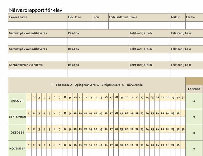 Närvarorapport för elev (enkel)