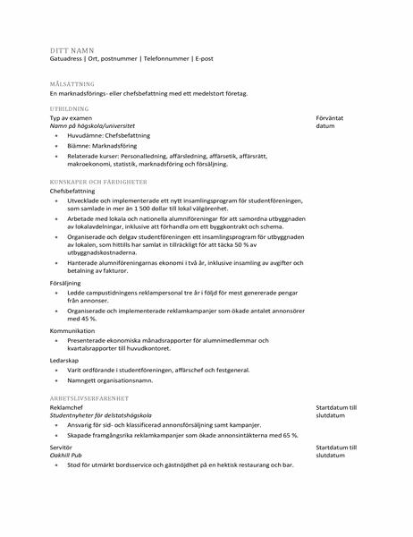 CV för nyutexaminerad student