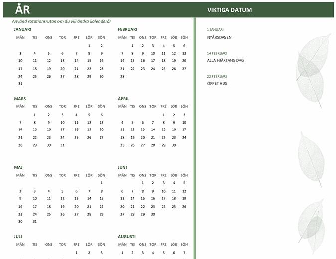 Kalender för företag (valfritt år, mån–sön)