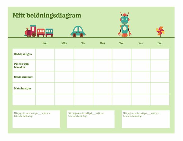 Belöningsdiagram från måndag till fredag