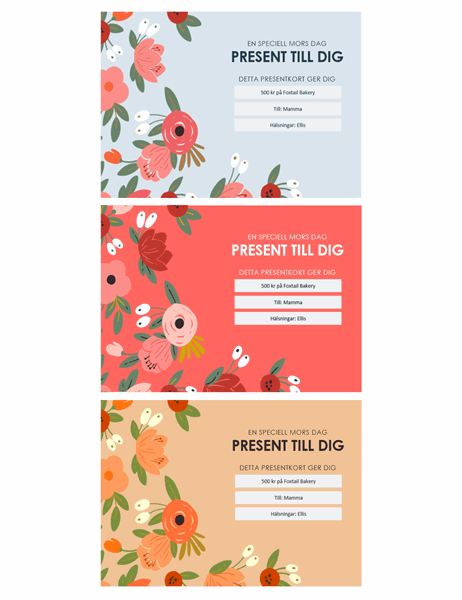 Vackra blommiga mors dag-presentkort
