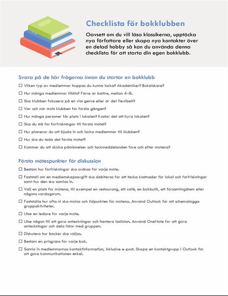 Checklista för bokklubb