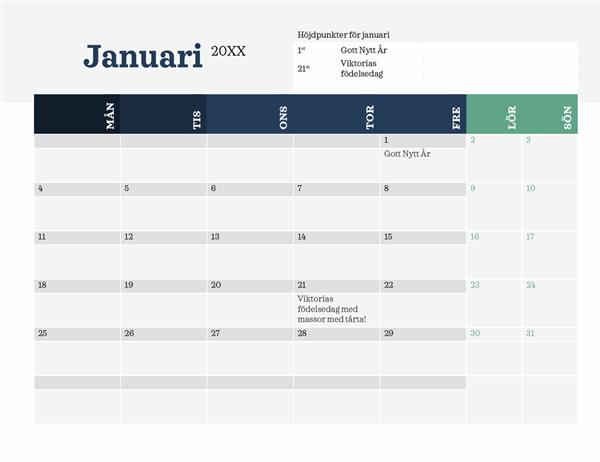 Modern kalender med höjdpunkter