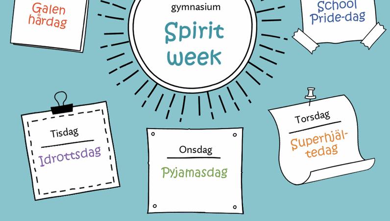 """Kalender för """"Spirit week"""""""