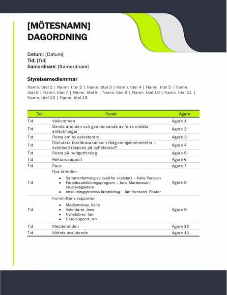 Dagordning för utbildningsmöten