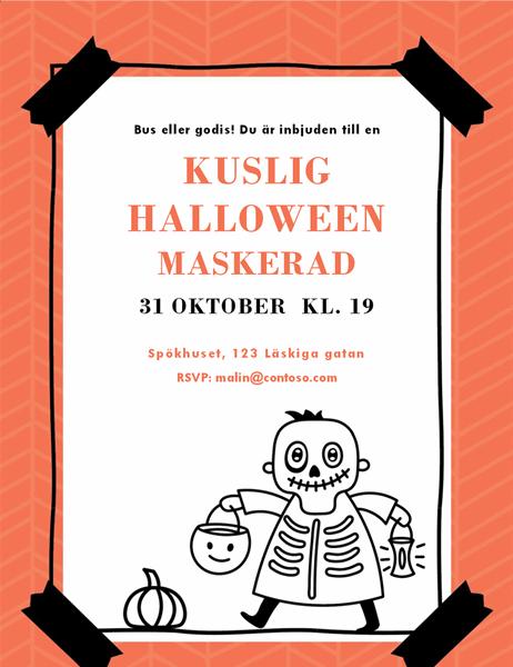 Halloweeninbjudan med skelett